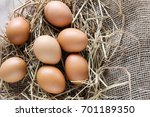eggs on hay | Shutterstock . vector #701189350
