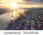 aerial view of cargo ship ...   Shutterstock . vector #701195104