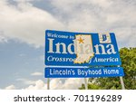 Nice new sign to welcome travelers to the state of Indiana, Crossroads of America, and Lincoln