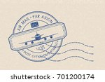 blue postal stamp with plane... | Shutterstock .eps vector #701200174