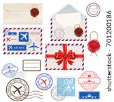 collection of postal elements   ... | Shutterstock .eps vector #701200186