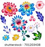 Folk Flowers For Graphic Desig...