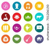 india travel icons many colors... | Shutterstock .eps vector #701206150