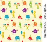 monster party pattern   Shutterstock .eps vector #701210566