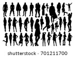 woman and man silhouettes | Shutterstock .eps vector #701211700
