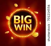 big win glowing retro banner... | Shutterstock .eps vector #701214556