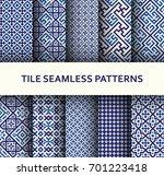 mosaic seamless patterns set....   Shutterstock .eps vector #701223418