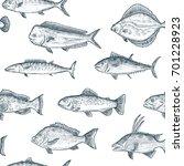 fish sketch. hand drawn...   Shutterstock .eps vector #701228923