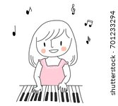 cute girl playing piano with... | Shutterstock .eps vector #701233294