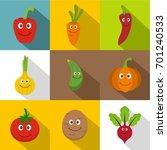 smiling vegetables icons set....   Shutterstock .eps vector #701240533