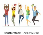 happy jumping senior school... | Shutterstock .eps vector #701242240