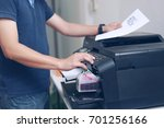bussiness man  hand press... | Shutterstock . vector #701256166