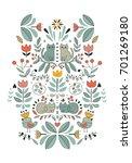 funny swedish folk cartoon cats ... | Shutterstock .eps vector #701269180