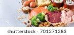 assortment of healthy protein... | Shutterstock . vector #701271283