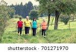 nordic walking   active people... | Shutterstock . vector #701271970