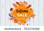 autumn sale poster of discount... | Shutterstock .eps vector #701276560