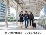 businessman and businesswoman... | Shutterstock . vector #701276590