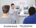 teacher asking question in... | Shutterstock . vector #701282944