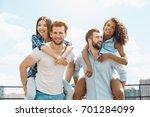 group of friends having... | Shutterstock . vector #701284099