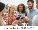 group of friends having... | Shutterstock . vector #701284810