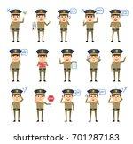 set of policeman characters... | Shutterstock .eps vector #701287183