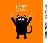 happy halloween. black cat claw ... | Shutterstock .eps vector #701291356