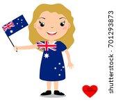 smiling child  girl  holding a... | Shutterstock .eps vector #701293873