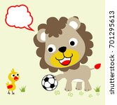 cute animals play soccer ... | Shutterstock .eps vector #701295613