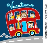 animals on the bus  vacations... | Shutterstock .eps vector #701295760