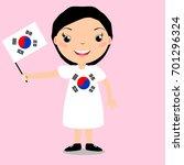 smiling child  girl  holding a...   Shutterstock . vector #701296324