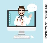 hipster doctor with online... | Shutterstock .eps vector #701301130