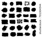 set of black paint  ink brush... | Shutterstock .eps vector #701304544