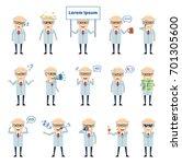 set of old professor characters ... | Shutterstock .eps vector #701305600