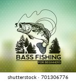 bass fishing emblem on blur... | Shutterstock .eps vector #701306776