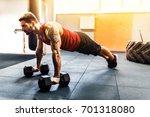 muscular bearded man doing push ... | Shutterstock . vector #701318080