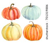 Set Pumpkin  Watercolor Hand...