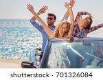group of happy young friends in ... | Shutterstock . vector #701326084