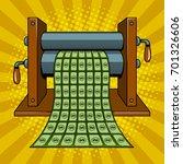 printing machine prints money... | Shutterstock .eps vector #701326606