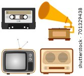 retro subjects. an old tv  a... | Shutterstock .eps vector #701329438