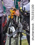Small photo of COPENHAGEN, DENMARK - JULY 2015: Arrows and compound bow for archery.