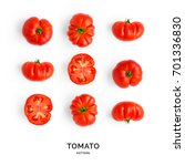 seamless pattern with tomatoes. ... | Shutterstock . vector #701336830