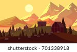 sunset evening countryside.... | Shutterstock . vector #701338918