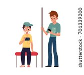 two teenagers  boys sitting and ... | Shutterstock .eps vector #701339200