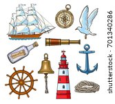 cartoon nautical elements  ... | Shutterstock .eps vector #701340286