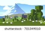 cartoon pixel countryside.... | Shutterstock . vector #701349010
