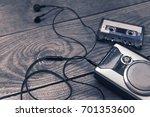 vintage walkman cassette player ... | Shutterstock . vector #701353600