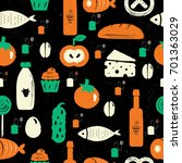 food seamless pattern in retro...   Shutterstock .eps vector #701363029