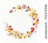 autumn composition. wreath made ... | Shutterstock . vector #701371906