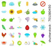 eco icons set. cartoon style of ... | Shutterstock .eps vector #701380450