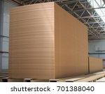Small photo of Big stack of MDF boards. Medium Density Fibreboard.
